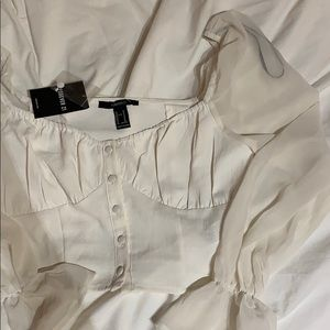 Cream button up blouse with shear sleeves